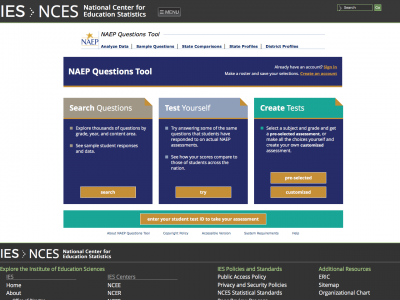 Screenshot of NAEP Questions Tool