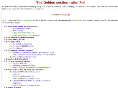 Screenshot of The Golden section ratio: Phi