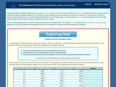 Screenshot of Exploring Data - different data, same statistics