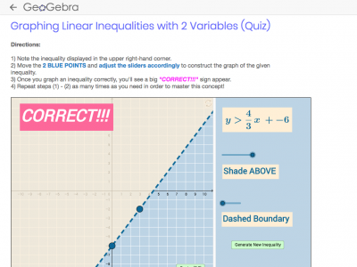 Screenshot of  Graphing Linear Inequalities with 2 Variables (Quiz)