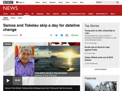 Screenshot of Samoa and Tokelau skip a day for dateline change