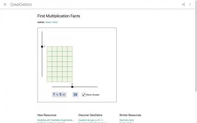 Screenshot of First Multiplication Facts