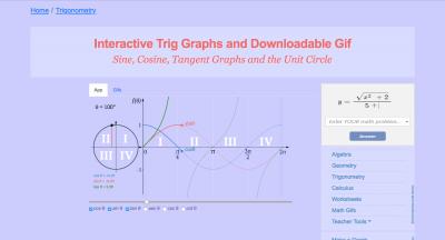 Screenshot of Interactive trig graphs