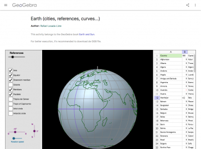 Screenshot of Earth GeoGebra Interactive