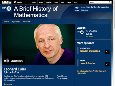 Screenshot of A podcast about Euler and his solution to konisberg problem