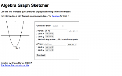 Screenshot of Algebra Graph Sketcher