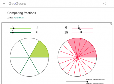 Screenshot of Comparing fractions